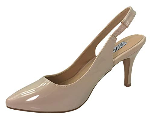 Forever Collection Womens Sling Back Pumps Mid to Low Heel Slip On Shoes, Taupe Patent, 10 - Footwear Patent Taupe