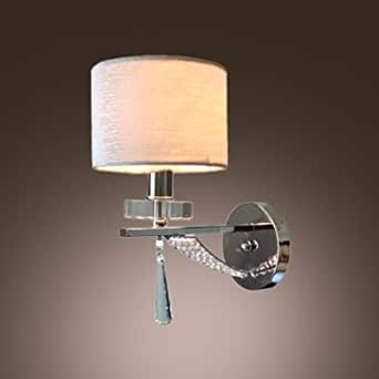 hua Sparkling Modern Wall Sconce Makes Great Decor with Faceted Crystal Drop and Elegant Silver Fabric Shade