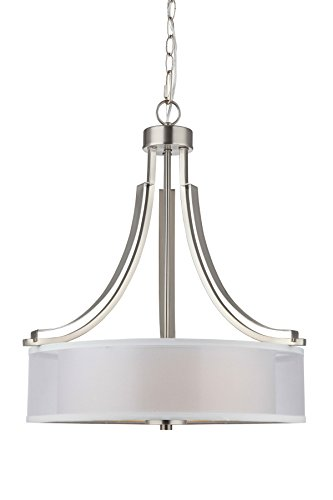 Nickel Satin Chandelier - Hardware House LLC 20-7737 # 3-Light Round Chandelier Satin Nickel