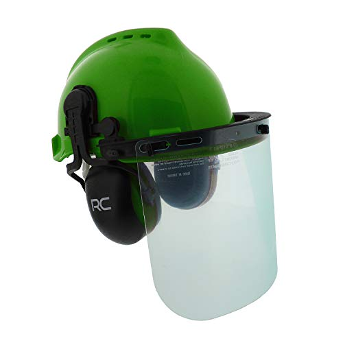 Felled Forestry Safety Helmet – Vented Forestry Hard Hat, Mesh/Plastic Safety Visor, Earmuffs – Chainsaw Helmet System