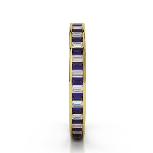 Or jaune 18carats 1.56CT G-H/VS Certifié Coupe ronde tanzanite et diamants Bague éternité Agdr-1138