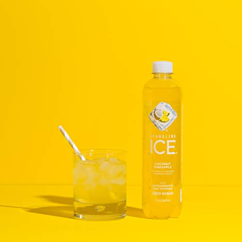Sparkling Ice, Coconut Pineapple Sparkling Water, with Antioxidants and Vitamins, Zero Sugar, 17 fl oz. Bottles (Pack of 12)