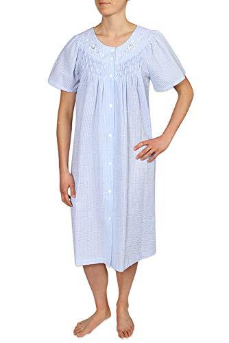 Elaine Seersucker Miss - Miss Elaine Women's Short Seersucker Snap Robe & Short Sleeves