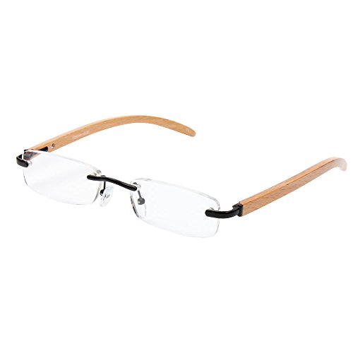 AENMIL Creative Anti-Fatigue Reading Glasses, Unique Wooden Arms Metal Frame Eye Protection Prism Spectacles(+2.00, - Victorian Spectacles