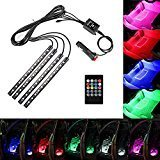 Car LED Strip Light,Haimi Tree RGB 5050 4pcs Multi-color Car Interior Lights,Waterproof Glow Neon Decoration Lamp Lighting Kit with Wireless Remote Control & Car Charger