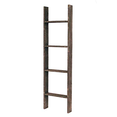 BarnwoodUSA Rustic Farmhouse Blanket Ladder - Our 4 ft Ladder can be Mounted Horizontally or Vertically and is Crafted from 100% Recycled and Reclaimed Wood | No Assembly Required | ()