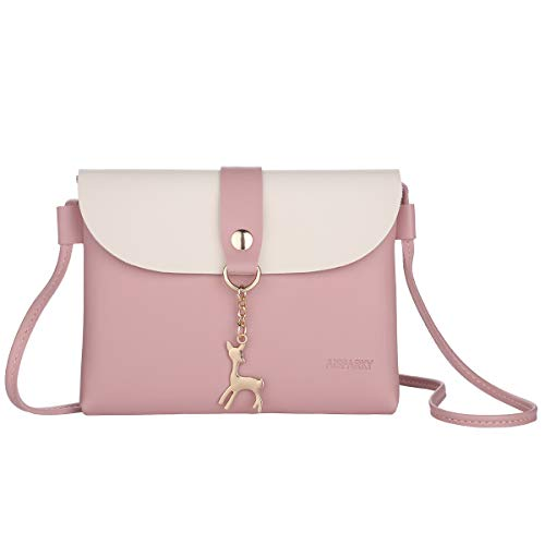 Small Crossbody Purse,PU Leather Small Purse for Womens and Girls With Pendant With Strap/Gold Chain Strap(Pink)