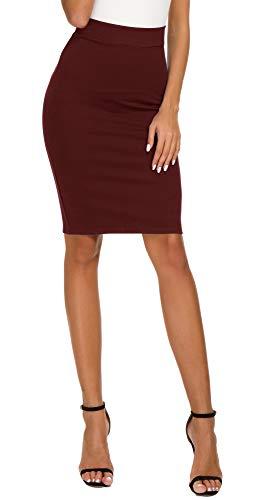 EXCHIC Women's High Waist Bodycon Midi Pencil Skirt (XL, Wine Red)