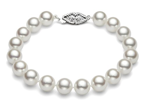 14 K Or Blanc Bracelet Perles de Culture Akoya du Japon de qualité AAA (7-7,5 mm)