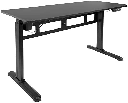 MOUNT-IT! Electric Standing Desk With Tabletop [55.1″ x 23.6″] | Motorized Sit Stand Desk With Memory Control Panel, Height Adjustable Powered Desks for Home and Office, Leveling Feet (Black)