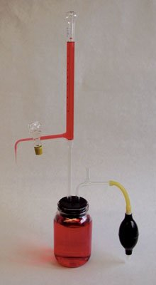 Ginsberg Scientific 7-208-23 Automatic Burette With Ground Glass Stopcock And Amber Storage Container - 25ml-Subdivided .1ml