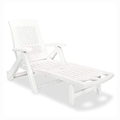 K&A Company Sun Lounger, Sun Lounger with Footrest Plastic White