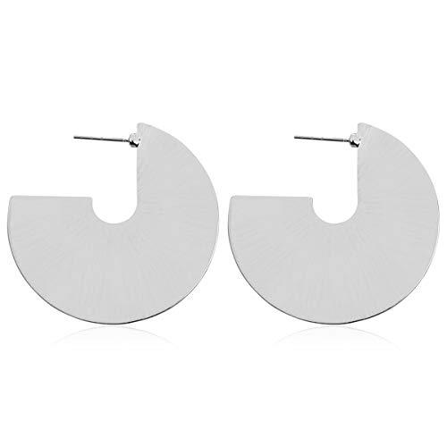 Simple Geometric Hoop Earrings - Bohemian Tribal Lightweight Profile Shield Hoops Curved Metal Crescent Moon, Hammered Filigree (Flat Disc Hoop - Silver) ()