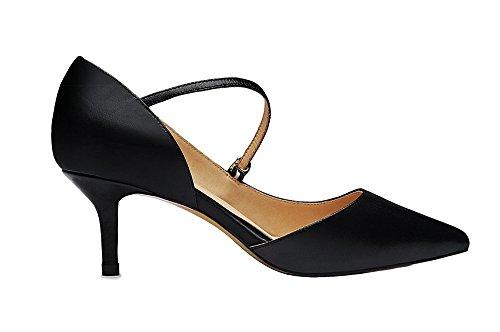 uBeauty Womens Court Shoes Mid Heel D¡®Orsay Pumps Strap Sandals Buckle Pointed Toe Pumps Big Size Sandals Black PU Heel 6.5cm yRrpQH1