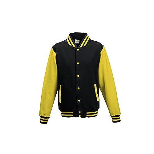 AWDis Hoods Varsity jacket Jet Black/ Sun Yellow L