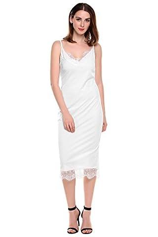 Zeagoo Womens Plus Size Sexy Lingerie Sleepwear Night Shirt Evening Dress (White XXL)
