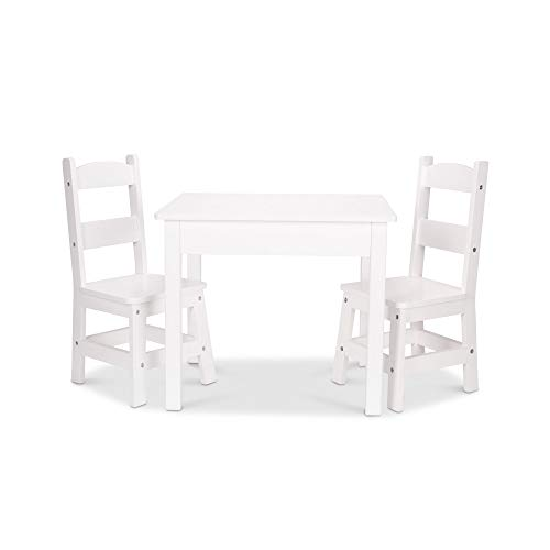 "(Melissa & Doug Solid Wood Table & Chairs, Sturdy Wooden Construction, 150-Pound Capacity, Easy to Assemble, 3-Piece Set, 20"" W x 23.5"" H x 20.5"" L)"