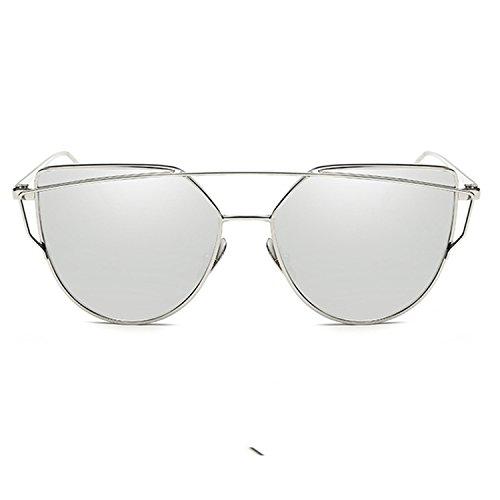 Dormery Women Luxury Cat eye Mirror Flat Rose Gold Vintage Cateye Fashion sun glasses lady Eyewear ()