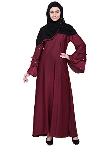 ZUZUU Women's Soft Nida Fabric Dubai Style 3 Flare Sleeves and Stone Work Abaya Burqa Hijab with Dupatta (BQ_100, Maroon, Free Size)