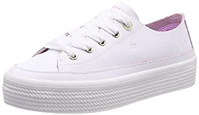 TOMMY HILFIGER Women's Leather Flatform Trainers Leather Flatform Trainers, White, 36 EU