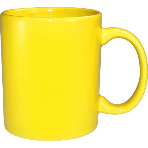 ITI Ceramic C-Handle Coffee Mugs with Pan Scraper, 10 Ounce (6-Pack, Yellow)