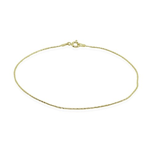 Yellow Gold Flashed Sterling Silver Italian Diamond-Cut Snake Chain Anklet, 9mm ()