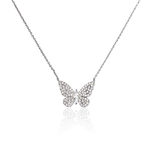 (Evelyn Lozada Women's Signature Butterfly White Gold Plated 17
