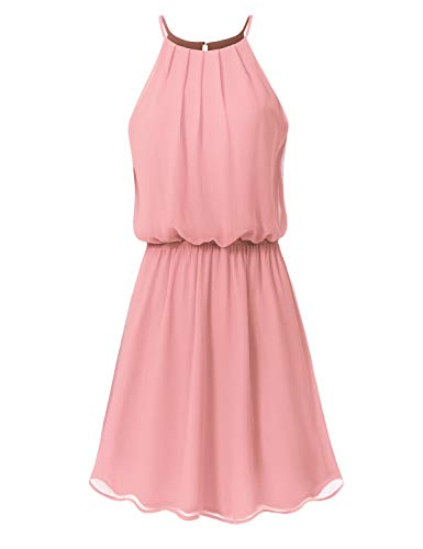 JSCEND Women's Sleeveless Double Layered Pleated Neck Cami Chiffon Mini Dress (S~3XL) A-Mauve M ()