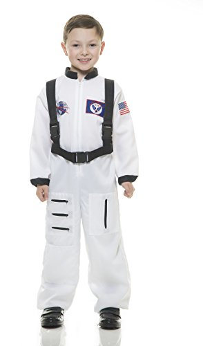 Charades Child's Astronaut Costume Jumpsuit, White, (White Astronaut Suit)