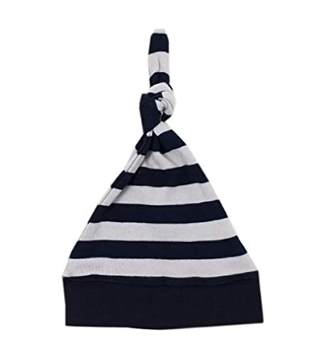 L'ovedbaby Unisex-Baby Organic Cotton Knotted Cap (0-6 Months, Navy/Light Gray Stripe)