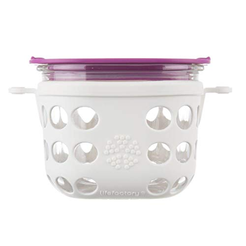 Lifefactory 2 Cup BPA-Free Glass Food Storage and Bakeware with Protective Silicone Sleeve and Lid, Optic White and Huckleberry
