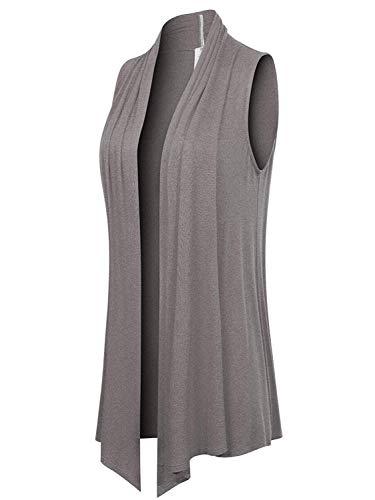 doublefive Women's Lightweight Sleeveless Draped Open Front Cardigan Vest Waterfall Jersey Layering Clothing Long Sweaters Fall Asymmetric Hem Solid Drape S-XL (Large, Heather Gray)