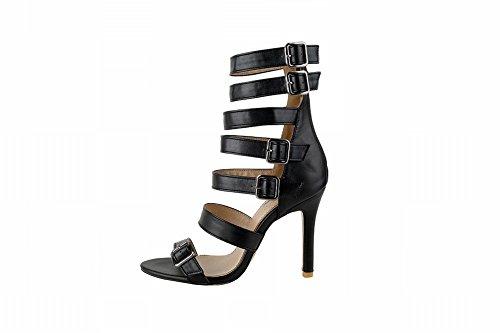 Charm Foot Mujeres Open Toe Zipper Heel Heel Sandalias De Tacón Negro