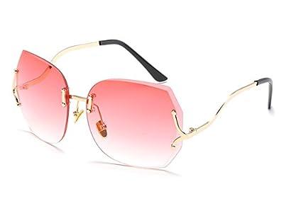 Vintage Rimless Sunglasses for Women Oversized Oceanic Cutting Lens Eyewear