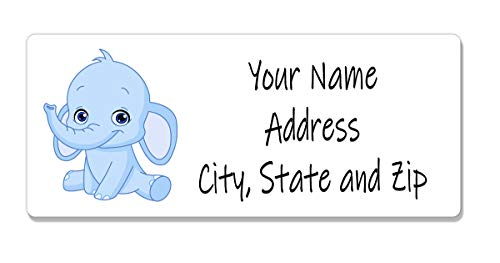 Personalized Address Labels for Baby Shower - Blue Elephant 120 Labels