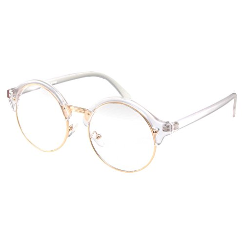 Non Prescription Fashion Eyeglasses Round Clear Lens Frame Glasses (Clear Frame with Gold Trim, - Round Gold Eyeglasses