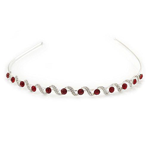 Bridal/ Wedding/ Prom Rhodium Plated Red/ Clear Crystal Tiara Headband