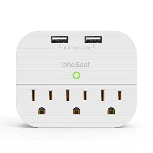 Multi Plug Wall Outlet Extender with Dual USB Ports, OneBeat No Surge Protector Power Strip with 3 Outlets, ETL Certified, Ultra Compact for Cruise Travel Home - White