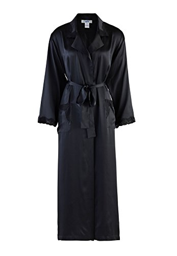 Nyteez Women's Natural Silk Long Bathrobe Dressing Gown (Large, Black) by Nyteez