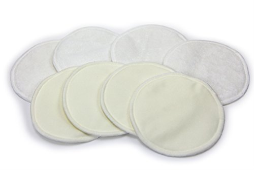 Price comparison product image Bamboo Nursing Pads (4-Pairs) – Reusable, Washable Breastfeeding Pads – Thin, Discrete, Leak Proof Coverage – Fit All Nursing Bras – Great Baby Shower Gifts for Motherhood