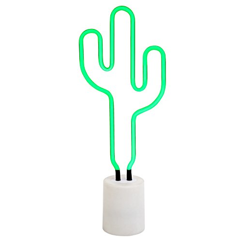 SunnyLIFE Indoor Decorative Neon Light Figurine Tube Desk Lamp with Adjustable Dimmer - Cactus, Large by SunnyLIFE