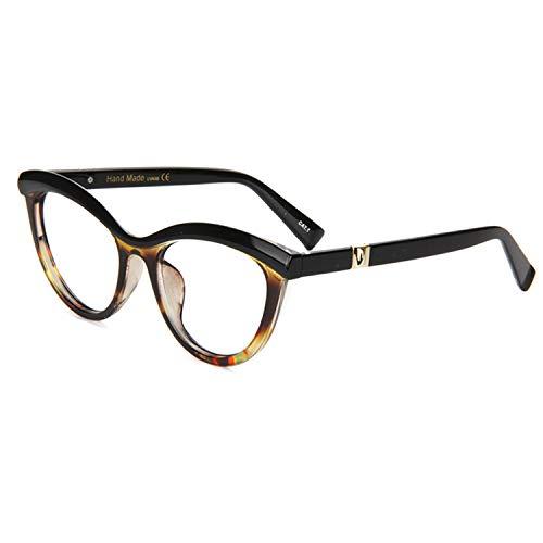 3f0568e3dd Zeelool Women s Oversized Browline Cat Eye Glasses Frame with Clear Lens  Sean FP0124