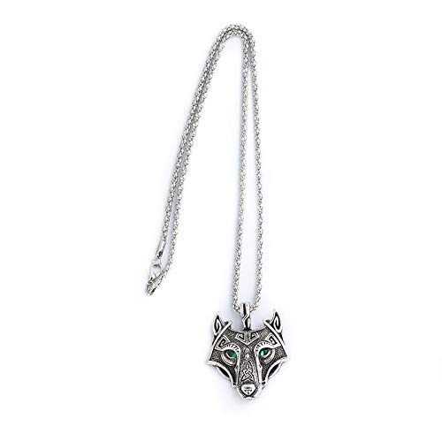 Davitu Norse Viking Zinc Alloy Jewelry Wolf Head with Green Eye Pendant Punk Dope Necklace Original Animal Jewelry for Men Gifts