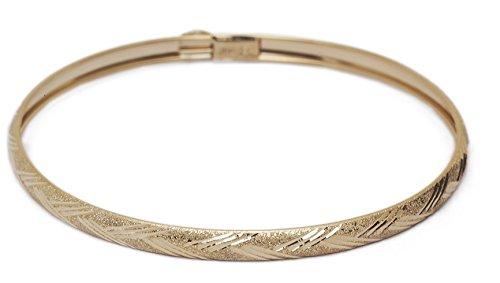 8 Inch 10k Yellow Gold bangle bracelet Flexible Round with Diamond Cut Design - Diamond Cut Gold Design Bracelet