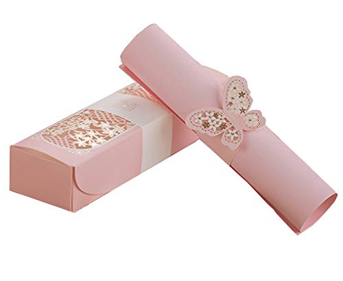 Invitation Box - 100sets Laser cutting Pink Box packed Wedding Invitation cards Pink Scroll Birthday Invitations Card with Butterfly knot Style customized Inner sheet XQ1605-P