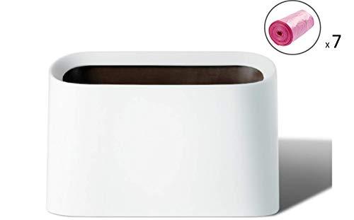 Lotsa Style Plastic Mini Wastebasket Trash Can & Makeup Holder, Vanity Desk Countertop Bathroom Kitchen, 105 Plastic Bags (White-Value)
