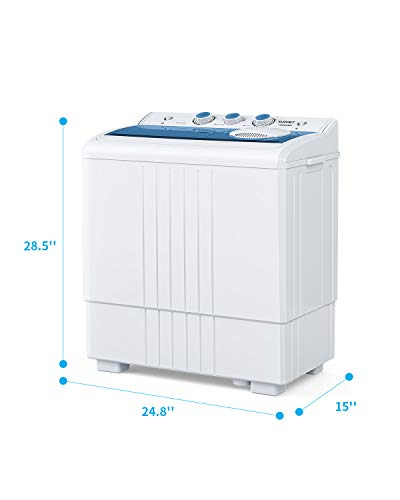 //Built-in Drain Pump//Semi-Automatic /&Spiner 6.6lbs 14.4lbs Washer White/&Gray KUPPET Compact Twin Tub Portable Mini Washing Machine 21lbs Capacity