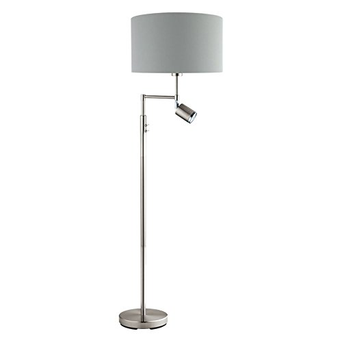 Nickel Matte Floor Lamp - Santander Floor Lamp in Matte Nickel finish with Fabric Grey Exterior & Silver Interior shade
