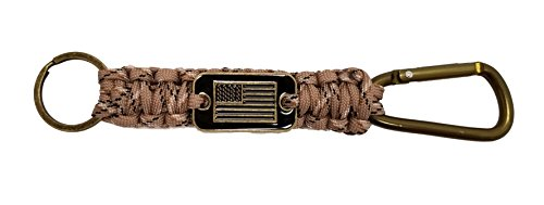 iHeartDogs Desert Camo Paracord Carabiner Keychain Lanyard | 20% of Sales are Donated to Help Pair Veterans with Shelter or Service (Air Force Service Key Ring)