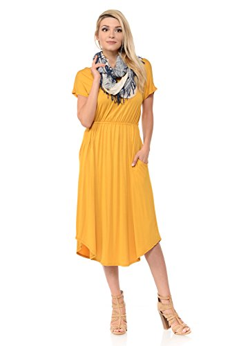 iconic luxe Women's Solid Short Sleeve Flare Midi Dress with Pockets Small Mustard ()